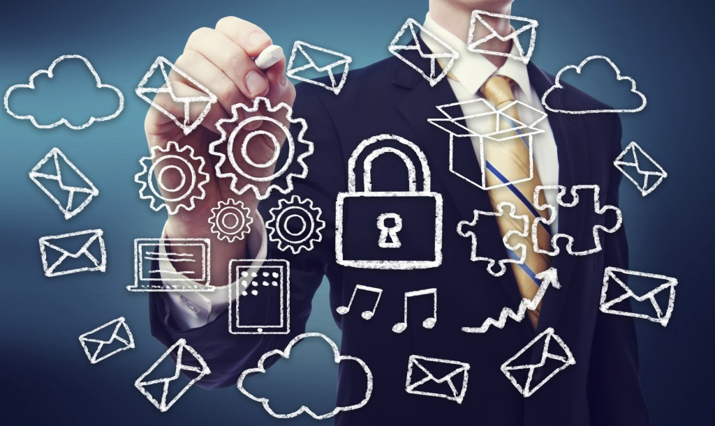Secured Online Cloud Computing Concept with Business Man
