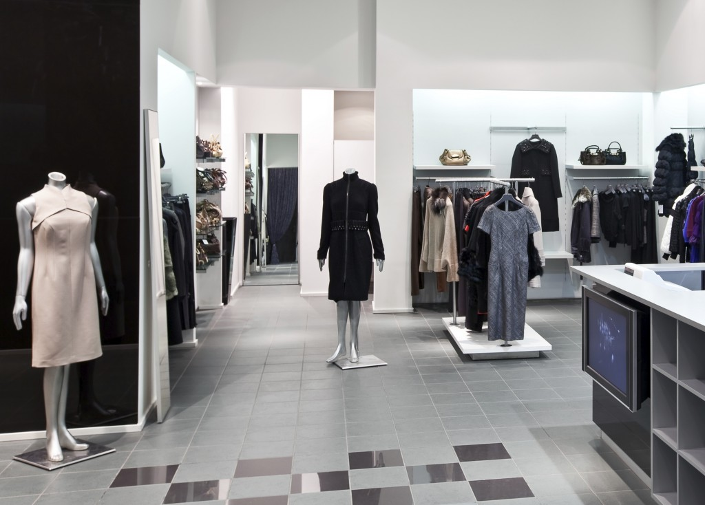Interior of new fashion boutique in modern shopping mall