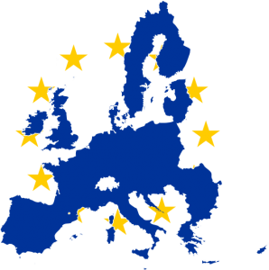Europe flag and map