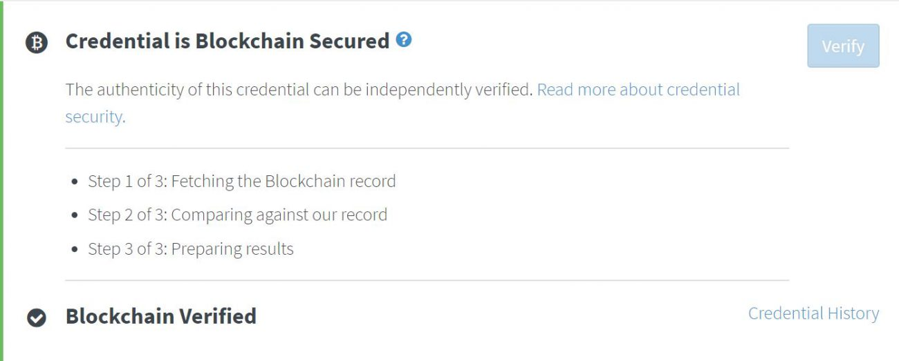 Blockchain verification screen with Ideo certificate