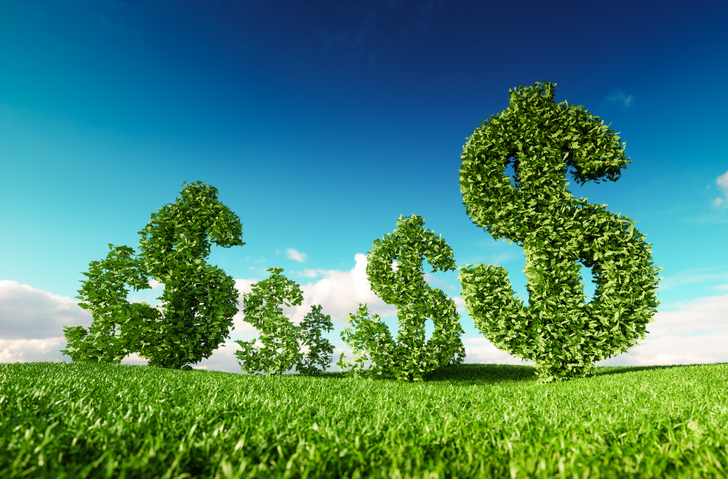 This image shows trees cut into dollar signs as a metaphor for how doing good drives profits.